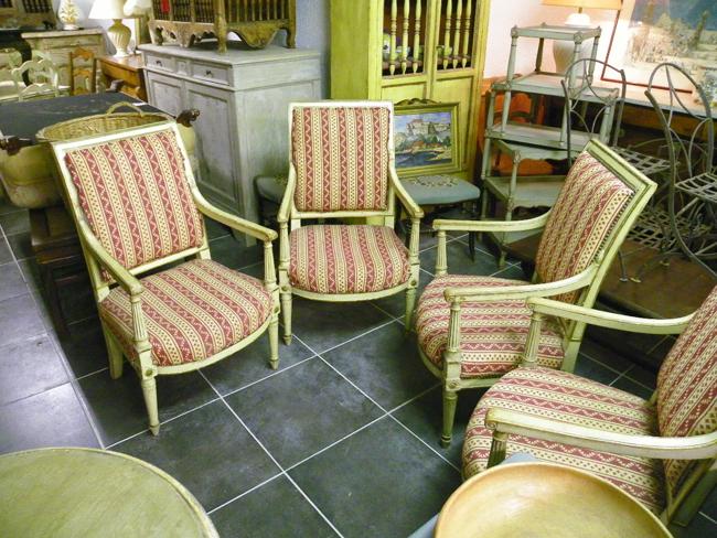 4 fauteuils poque premier consul fin xviii 100 2451. Black Bedroom Furniture Sets. Home Design Ideas