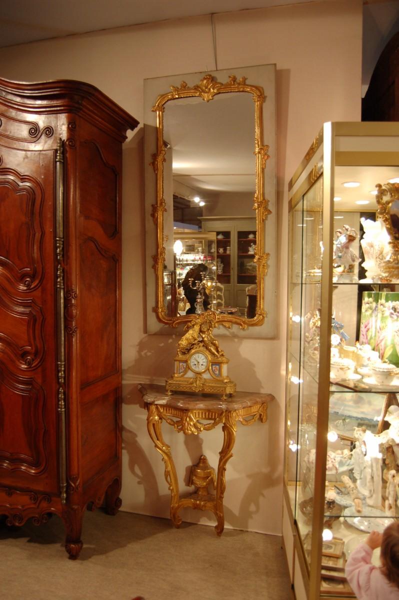 ensemble trumeau en bois dor et console dessus marbre 11 517. Black Bedroom Furniture Sets. Home Design Ideas