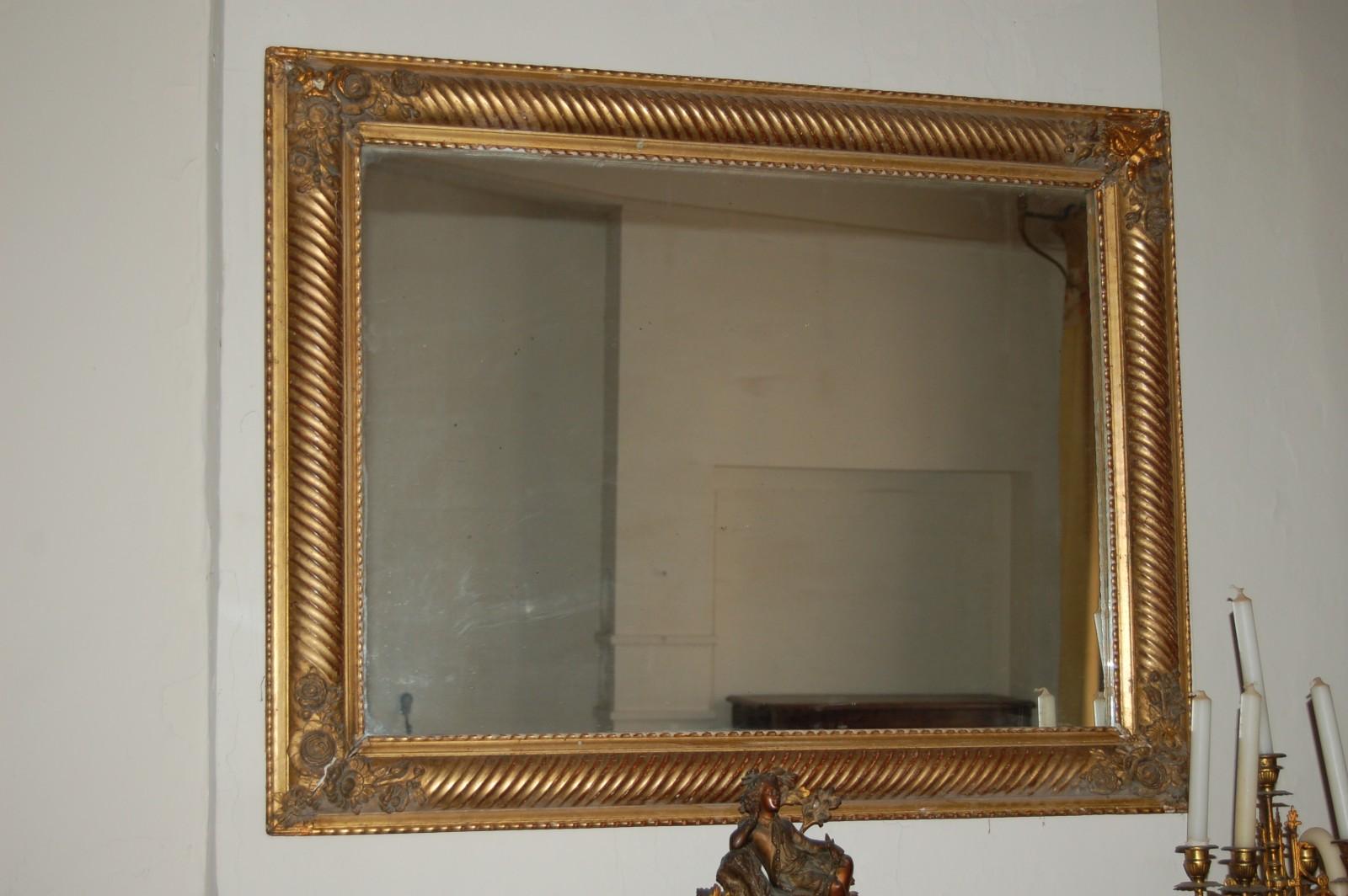Miroir dore for Miroir en bois pas cher