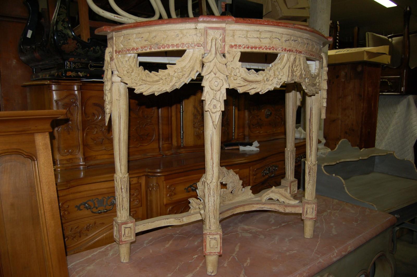 console style louis xvi peinte richement sculpt e 35 269. Black Bedroom Furniture Sets. Home Design Ideas